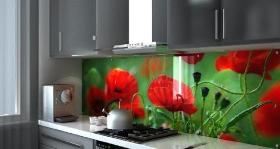 Tranh kính 3D ốp bếp