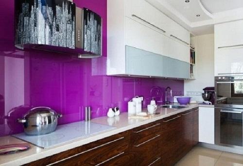 Kính ốp bếp Hải Long màu tím