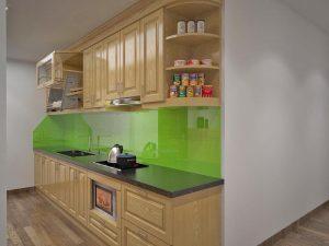 Kính màu ốp tường bếp màu xanh non