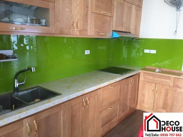 Kính ốp tường bếp xanh non giá rẻ