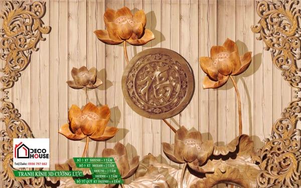 Bức tranh 3d hoa sen đẹp điêu khắc gỗ
