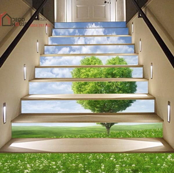 Tranh kính 3d ốp cổ bậc cầu thang phong cảnh thiên nhiên bãi cỏ
