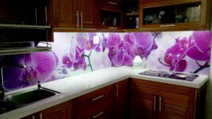 Kính ốp bếp 3D hình hoa Lan