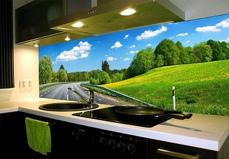 Kính ốp bếp 3D phong cảnh con đường đẹp