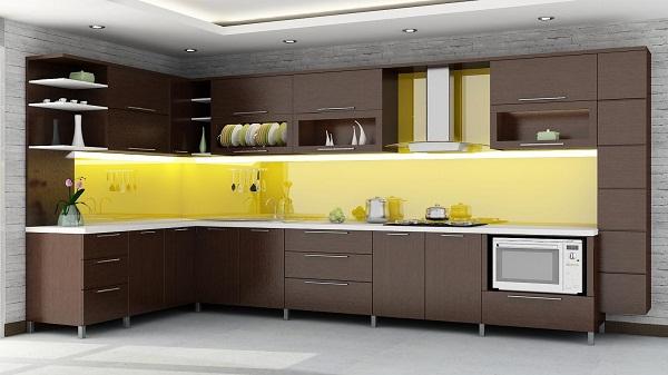 Kính ốp bếp màu vàng nhạt