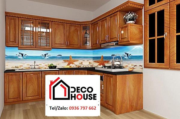 Mẫu kính 3d ốp bếp bãi biển đẹp