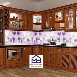 Kính ốp bếp 3d bông hoa