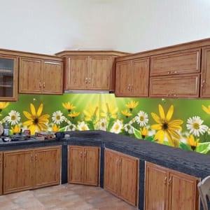 Kính ốp bếp 3d hình hoa đơn giản