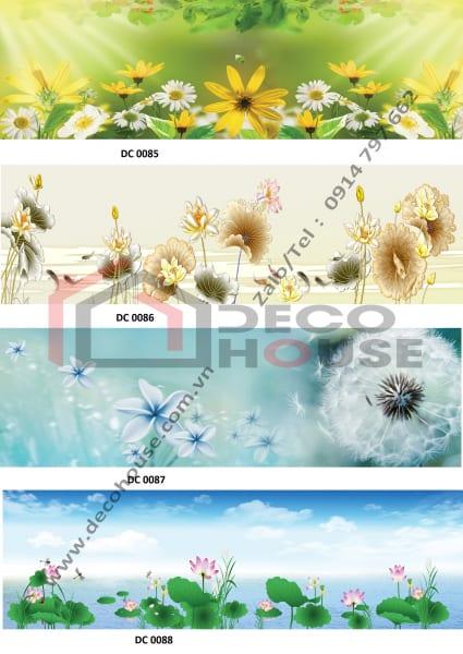 Mẫu kính ốp bếp hình hoa đẹp