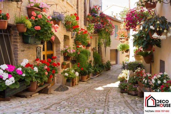 Tranh kính phong cảnh đường phố hoa
