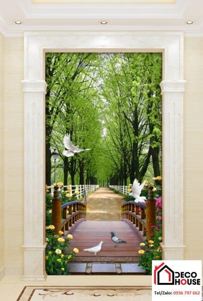 Bức tranh kính ốp ô tường phòng khách trang trí