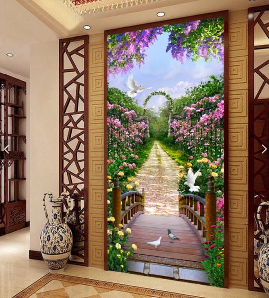 Cập nhật mẫu tranh kính phòng khách con đường hoa