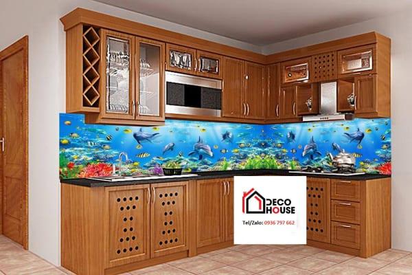 Mẫu tranh kính bếp 3d đại dương