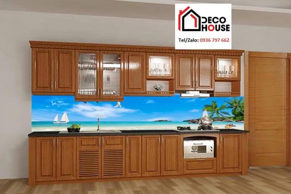 Kính ốp bếp 3D hình bãi biển