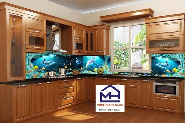Kính ốp bếp 3D hình cá heo - Mẫu kính ốp bếp 3D đẹp