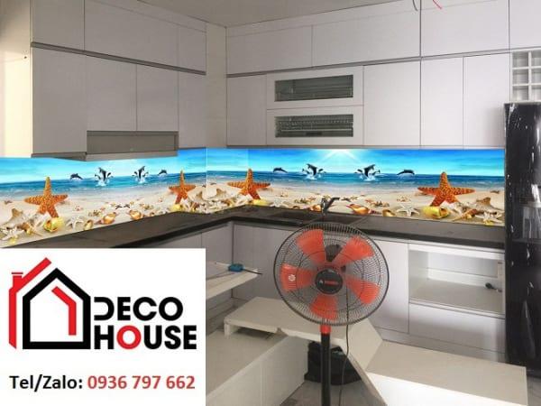 Kính ốp bếp 3D sao biển