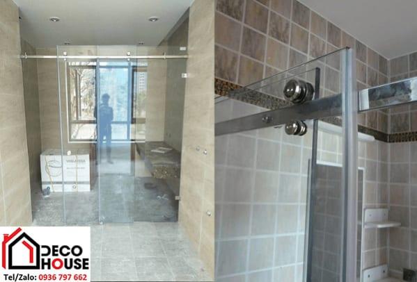 Mẫu vách kính phòng tắm cửa lùa