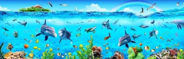 Tranh kính 3d in hình dưới biển