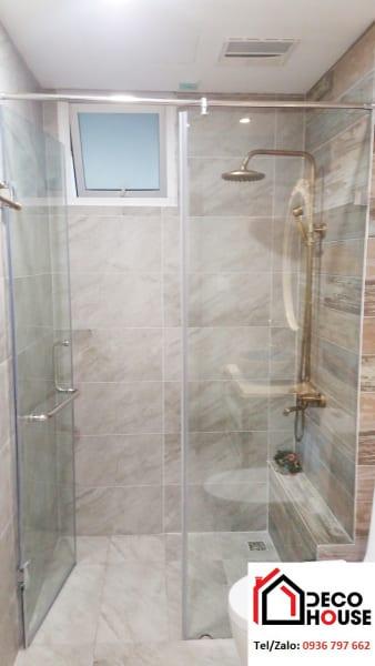 Phòng kính tắm 1 cánh cửa mở vuông góc