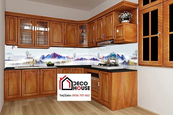 Kính ốp bếp 3d nghệ thuật hình núi
