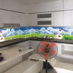 Kính cường lực 3d ốp bếp thiên nhiên