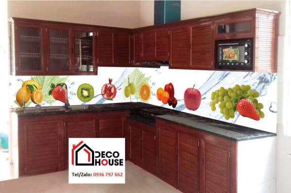 Kính bếp in hình hoa quả