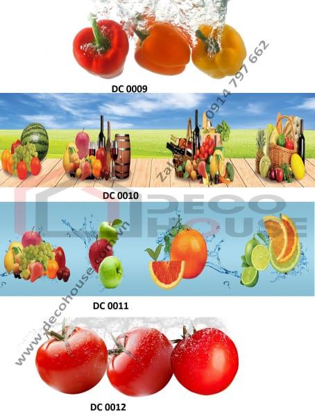 Tranh kính 3d ốp bếp hoa quả, trái cây