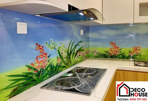 Kính ốp bếp 3D hoa văn Hà Nội