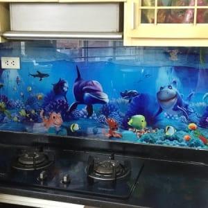 Tranh kính 3D ốp bếp sinh động