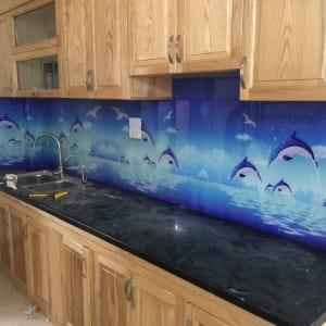 Tranh kính ốp bếp 3D hình biển