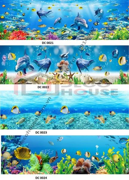 Mẫu kính bếp 3D đại dương
