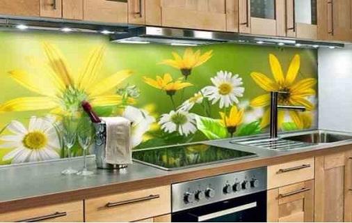 Mẫu kính ốp bếp 3D hình bông hoa