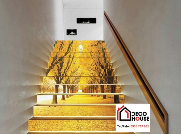Tranh kính ốp bậc cầu thang đẹp