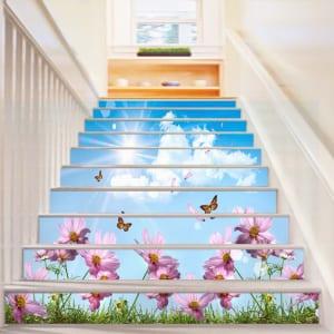 Tranh kính ốp bậc cầu thang