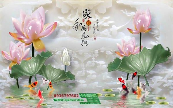 Tranh kính cá chép hoa sen