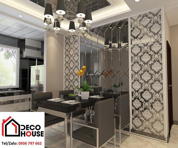 Gương dán tường phòng bếp tạo không gian hiện đại, sang trọng, kích thích người nhìn