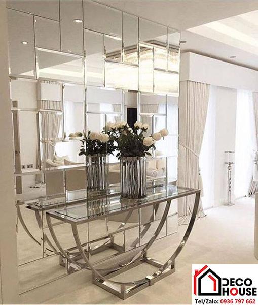 Gương trang trí hình vuông đan xen ốp tường cho phòng khách