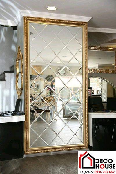 Gương ghép ô trang trí khổ đứng cho phòng khách, phòng ăn