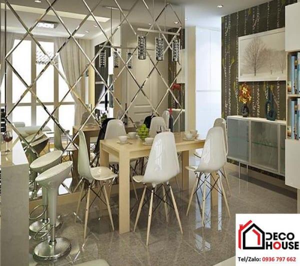Gương ghép hình quả trám mới lạ, ấn tượng dành cho phòng khách