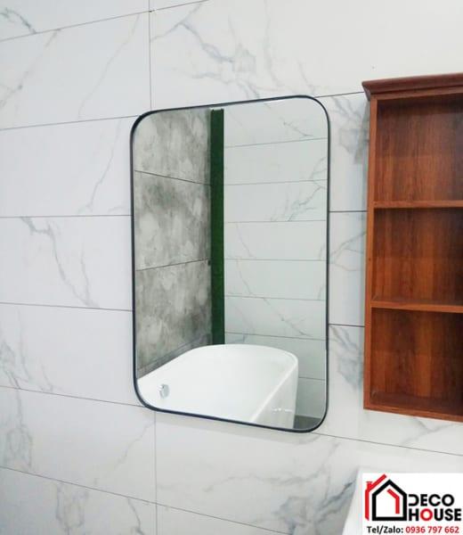 Gương treo tường hình chữ nhật bo góc