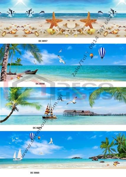 Mẫu tranh kính ốp bếp hình bãi biển