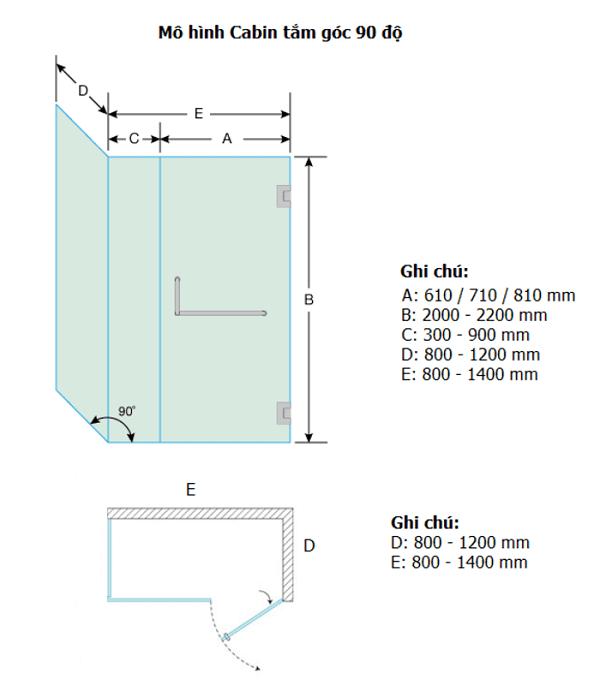 Mô hình cabin tắm kính 90 độ