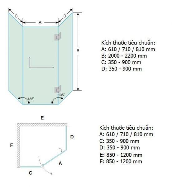 Kích thước vách tắm kính 135 độ