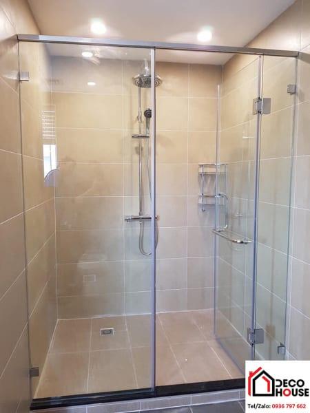 Phòng tắm kính cửa mở 90 độ