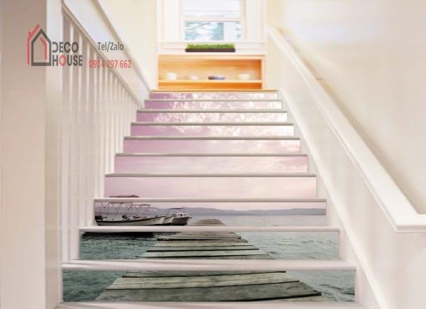 Tranh kính 3d ốp bậc cầu thang