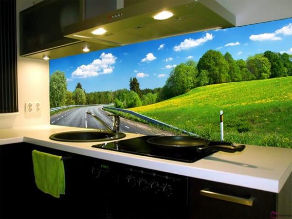 kính ốp tường bếp in tranh