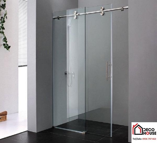 Vách kính cường lực phòng tắm cửa lùa đẹp