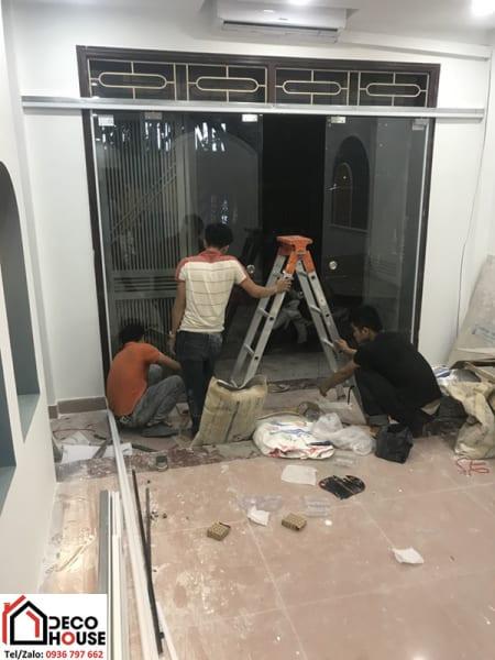 Lắp đặt cửa kính cường lực tại Nghĩa Tân, Cầu Giấy, Hà Nội