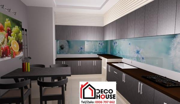 Kính ốp tường bếp in tranh 3D đẹp
