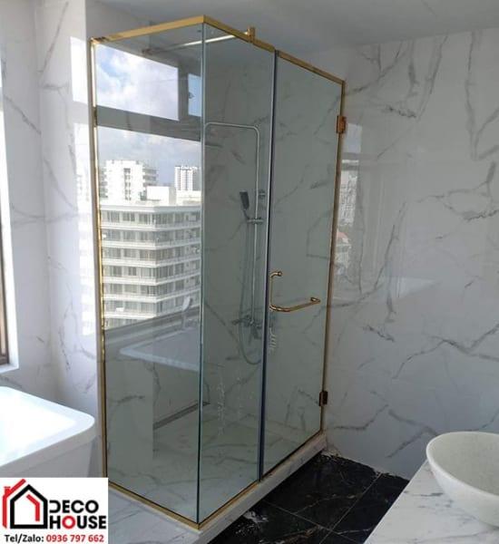 Phòng tắm kính cửa  mở quay 90 độ